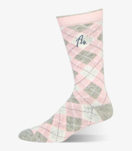 Pink and Grey Argyle Socks