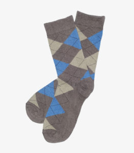 Beige, Brown, and Blue Argyle Socks