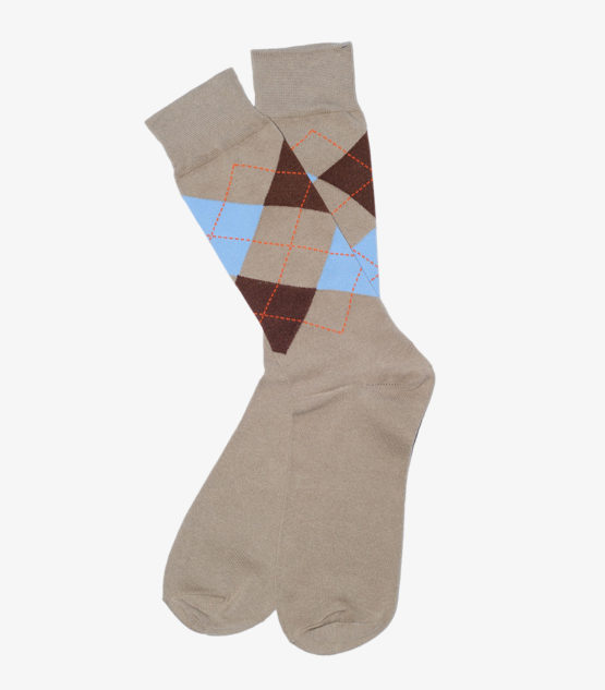 Brown, Tan, and Blue Argyle Socks