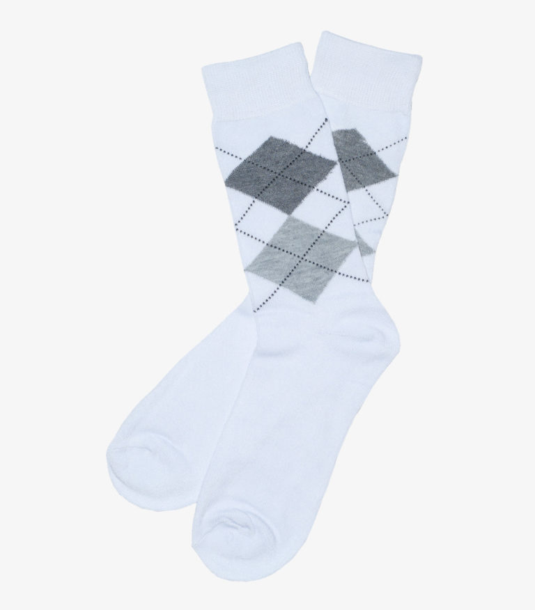 White and Gray Argyle Socks