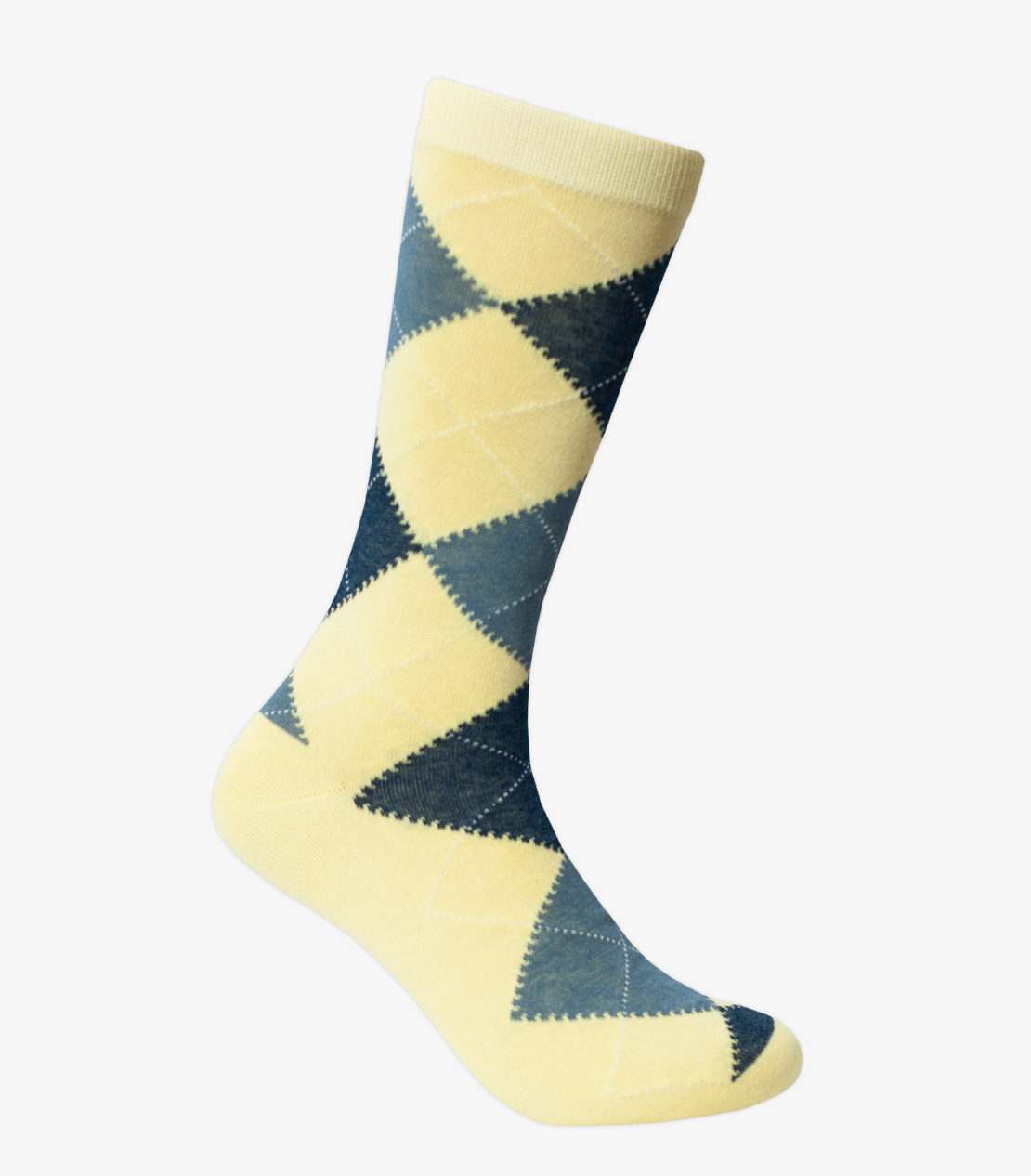 Yellow, Blue, and Grey Argyle Socks