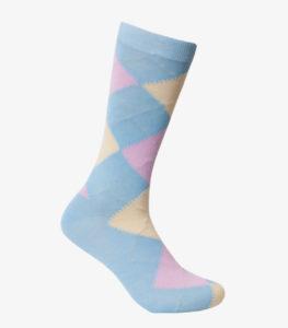 Light Blue, Yellow, and Pink Argyle Socks
