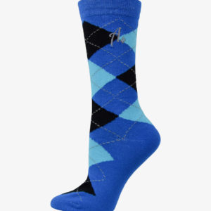 Blue, Black, and Teal Argyle Socks