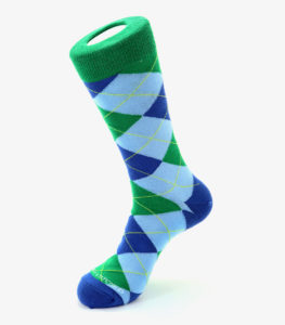 Green, Blue, and Light Blue Argyle Socks
