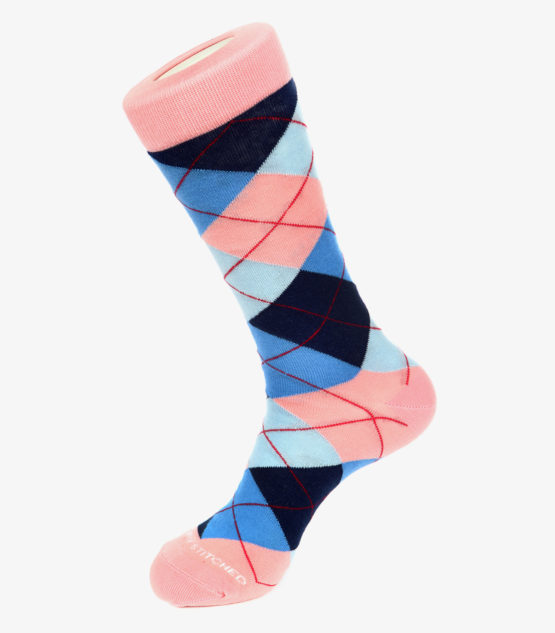 Pink, Blue, and Navy Argyle Socks