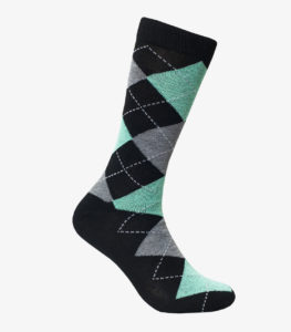 Black and Mint Argyle Socks